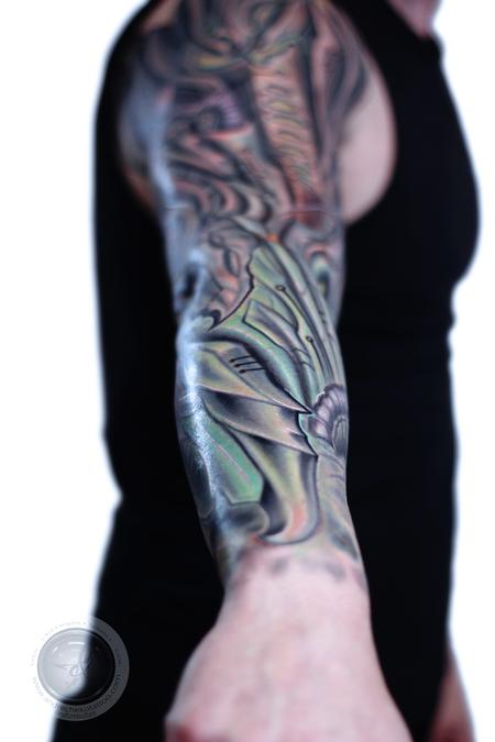 Andre Cheko - Bio mechanical virus color tattoo
