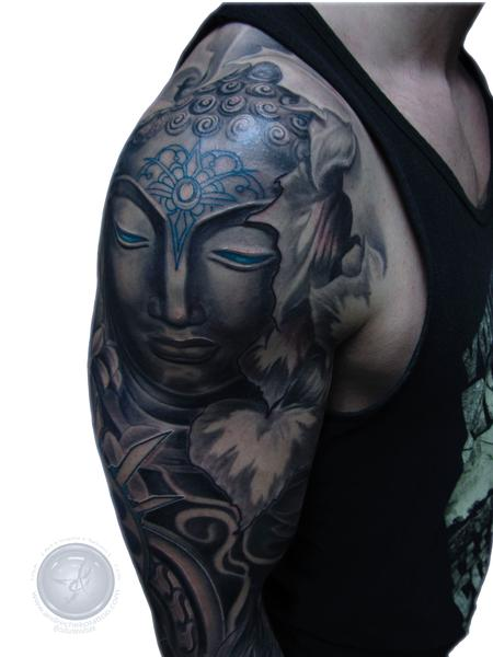 Tattoos - spiritual Buddha sleeve tattoo - 128402