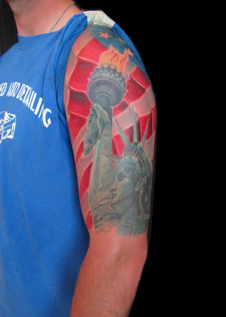 American Flag Statue Of Liberty Tattoo By Andre Cheko
