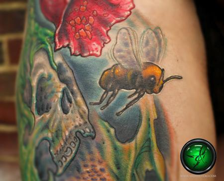 Tattoos - bio organic skull  and bee color tattoo - close up - 78425