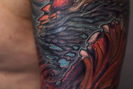 Bio organic sea color sleeve tattoo CLOSE UP Tattoo Design Thumbnail