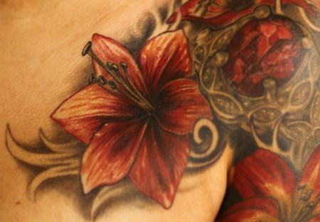 Tropical flower color tattoo Tattoo Design Thumbnail