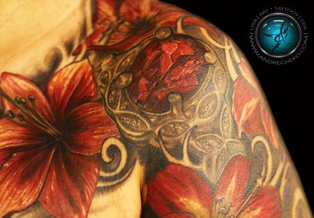 Tattoos - Tropical flowers and crystal tattoo - 95120