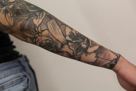 Tattoos - roses  and floral sleeve blackwork tattoo  - 133129