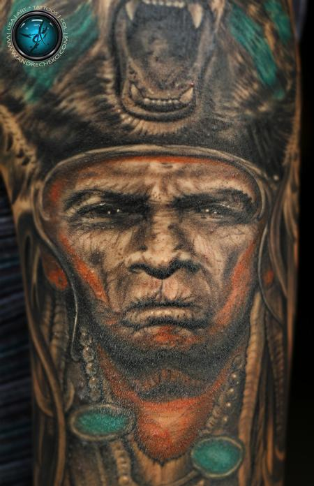Indian / Native American Half sleeve Mix color tattoo close-up Tattoo Design Thumbnail