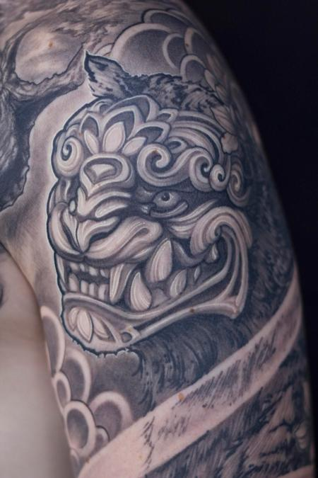 Tattoos - fu dog / tiger ornamental sleeve tattoo - 133128
