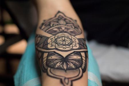 Tattoos - sacred geometry ornamental sleeve tattoo - 133126
