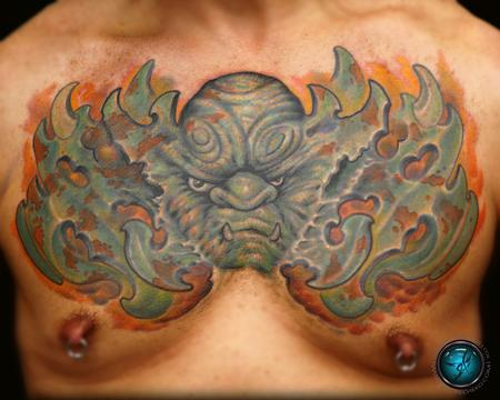 Tattoos - Gargoyle chest piece color tattoo / tattoo coverup  - 86282
