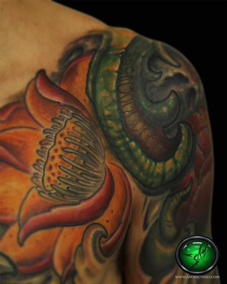 Tattoos - Lotus flower color sleeve tattoo close up. - 76620