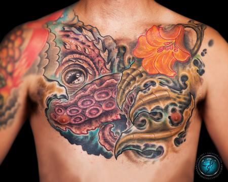 Tattoos - Under water bio octopus color tattoo - 86238