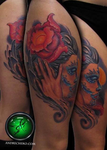 Tattoos - Dia de los muertos color thigh tattoo - 75831
