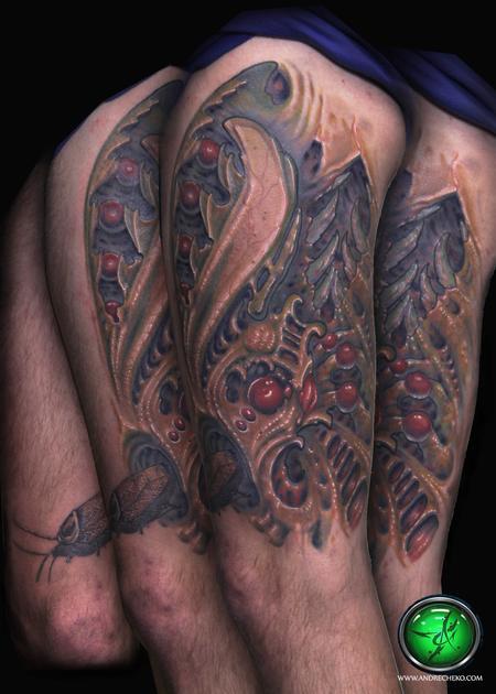 Tattoos - Bio organic cockroach city color tattoo - 76679