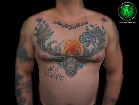 Tattoos - Stag head color chest tattoo - 75730