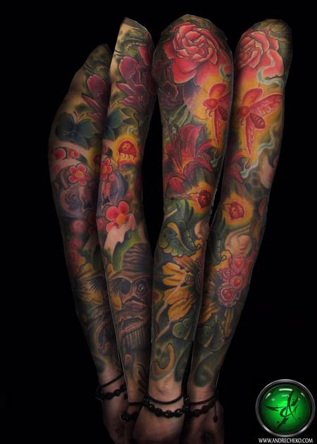 Tattoos - Nature floral and bugs color sleeve - 78492