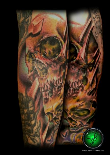 Andre Cheko - Dark skull arm color tattoo