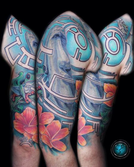 Tattoos - Stone head and tropical color tattoo - 94436