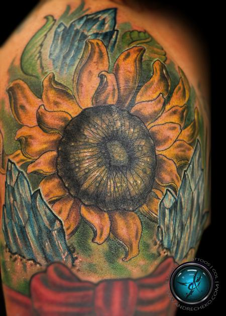 Tattoos - Sunflower and crystals color tattoo - 86312