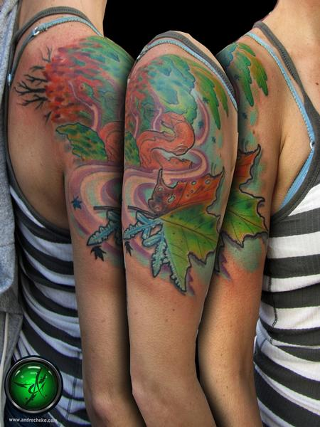 Tattoos - All Seasons Tree Tattoo - 70389