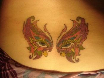 Clare Miles - Lower back tattoo