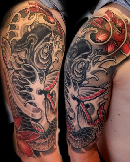 Tattoos - Koi and Flower - 104156