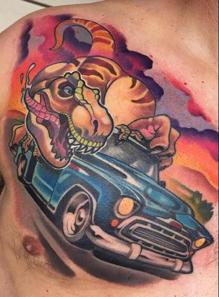 Tyrannosaurus and car  Tattoo Thumbnail