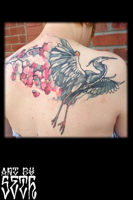 Illustrative Heron Cherry Blossoms Tattoo Thumbnail