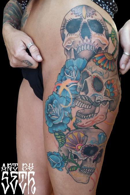 Tattoos - Illistrative Sugar Skull Roses - 114800