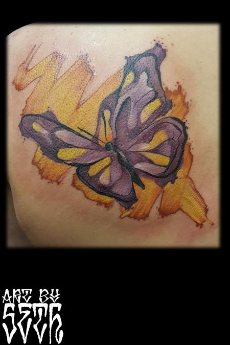 Tattoos - Watercolor Abstract Butterfly - 114799