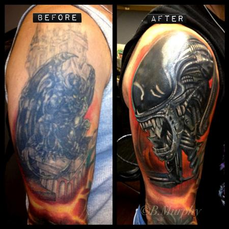 Tattoos - cover-up over large black tattoo - 73105