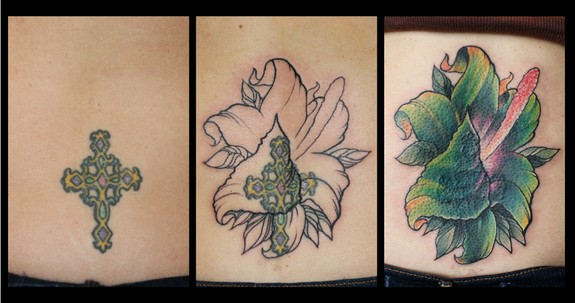 Flower cover up by tim pangburn tattoonow for Art machine productions tattoo