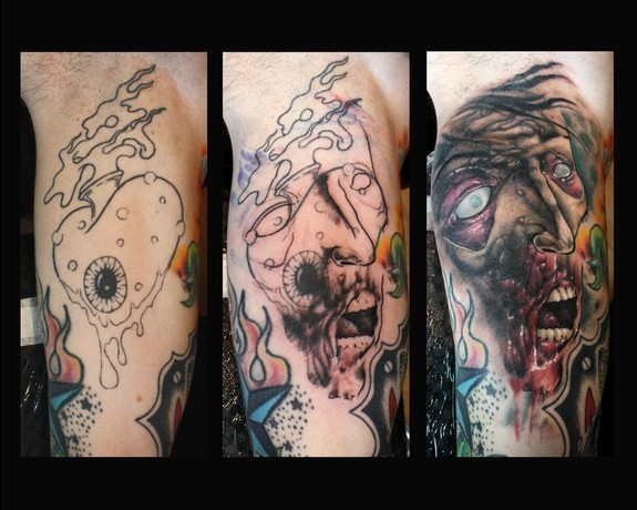 Cover tattoo with another tattoo for Zombie tattoo machine