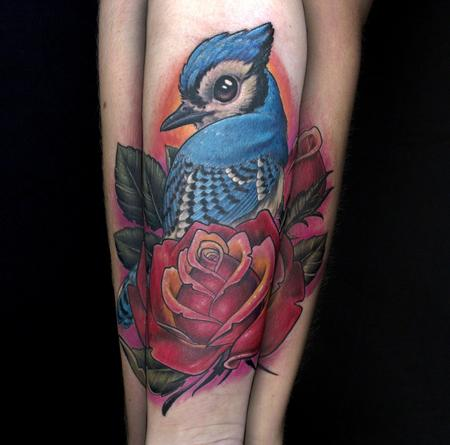 Bluejay on a rose Tattoo Design Thumbnail