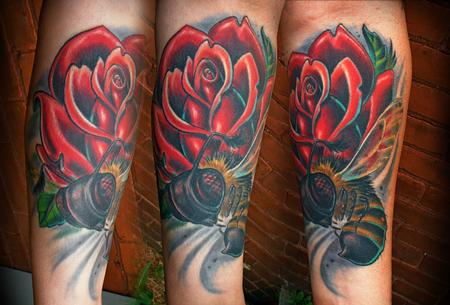 Tattoos - Busy bee and red rose - 67727