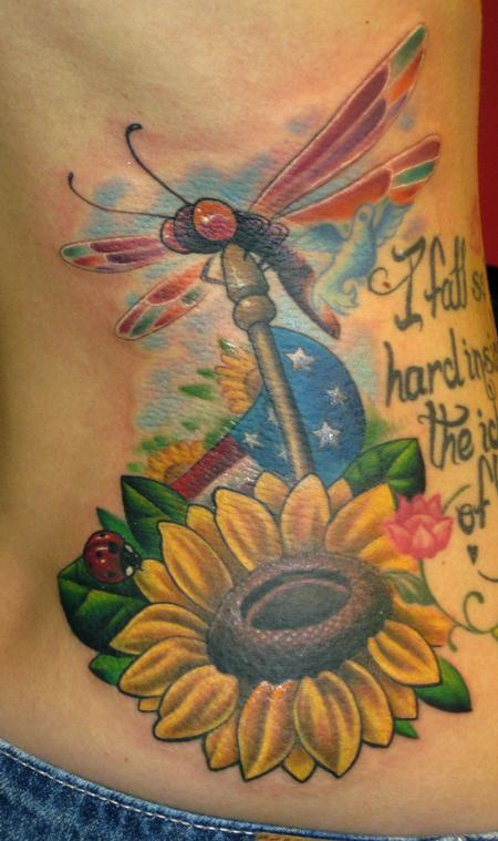 Tim Senecal - dragonfly flag memorial tattoo