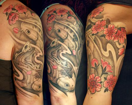 Tattoos - black n gray koi with color cherry blossums - 98255