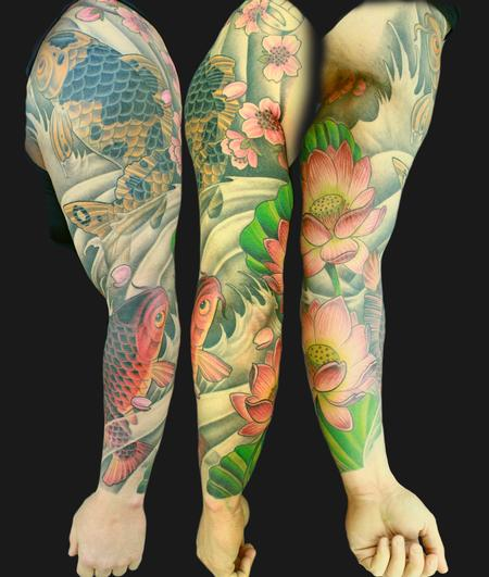 Tattoos - non traditional Kois and lotus - 87501