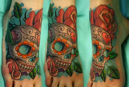 Tattoos - sugar skull foot tattoo