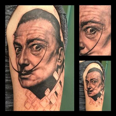 Black and Grey Salvador Dali portrait tattoo Tattoo Design Thumbnail