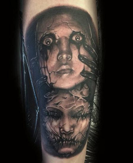 Tattoos - Black and grey fantasy arts tattoo - 101739