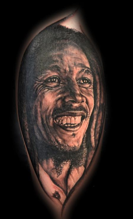 Portrait Tattoo of, Bob Marley Tattoo Design Thumbnail