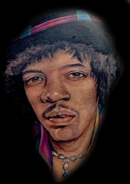 Tattoo of Jimi Hendrix completed in 2011 Tattoo Design Thumbnail
