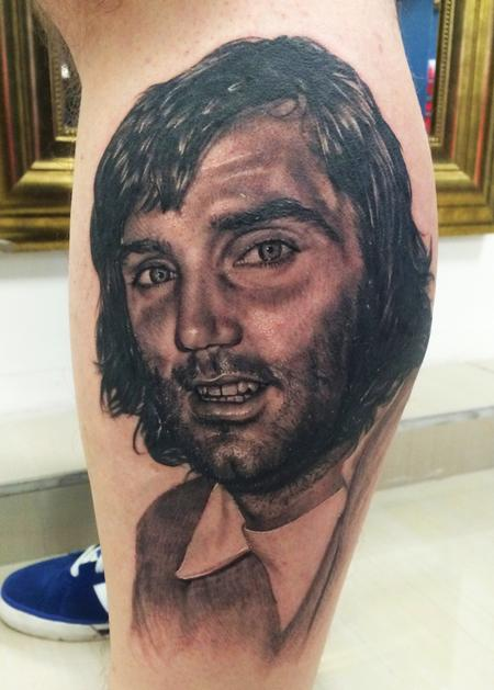 Portrait Tattoo Of United Legend, George Best Tattoo Design Thumbnail
