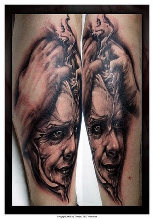 Tommy Lee Wendtner - brain splitting tattoo