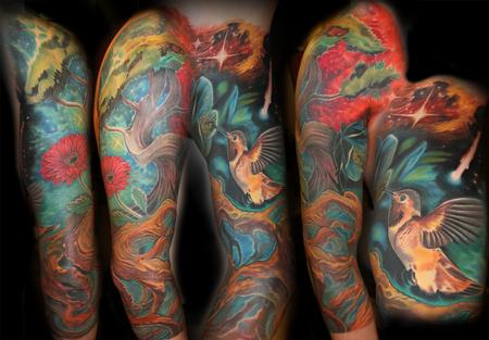 Tattoos - Hummingbird and Tree Sleeve - 111481