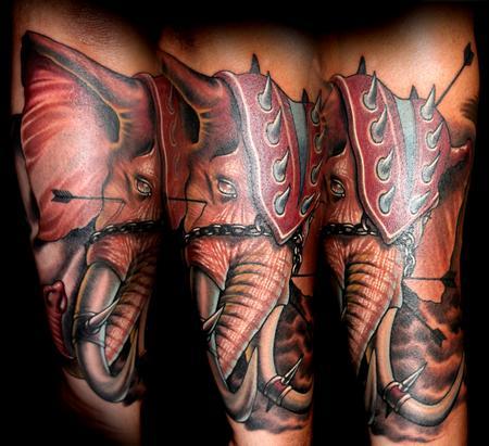 elephant warrior Tattoo Design