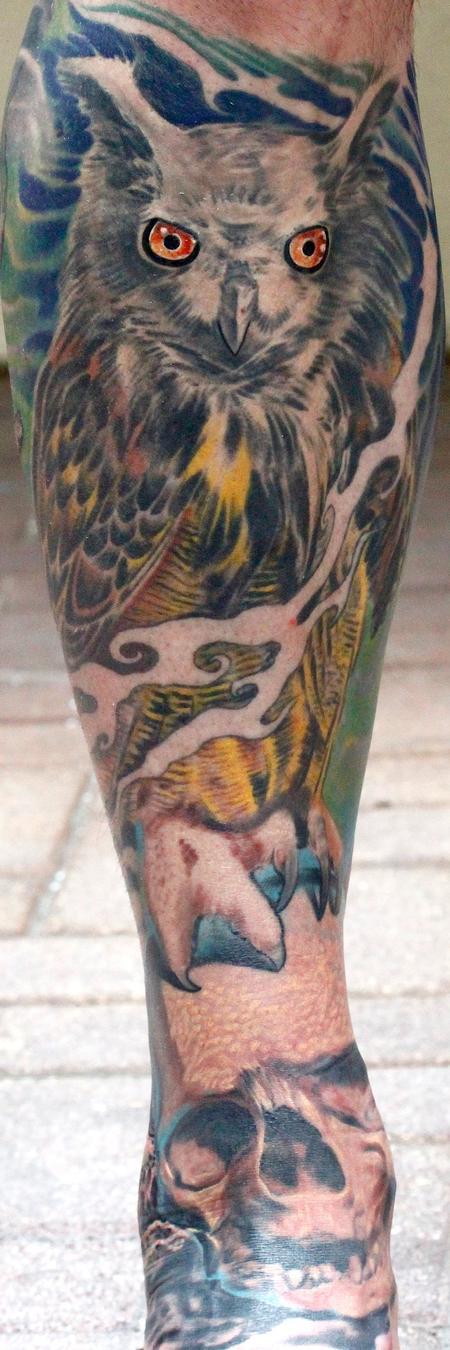 Tattoos - Owl and skull - 77991