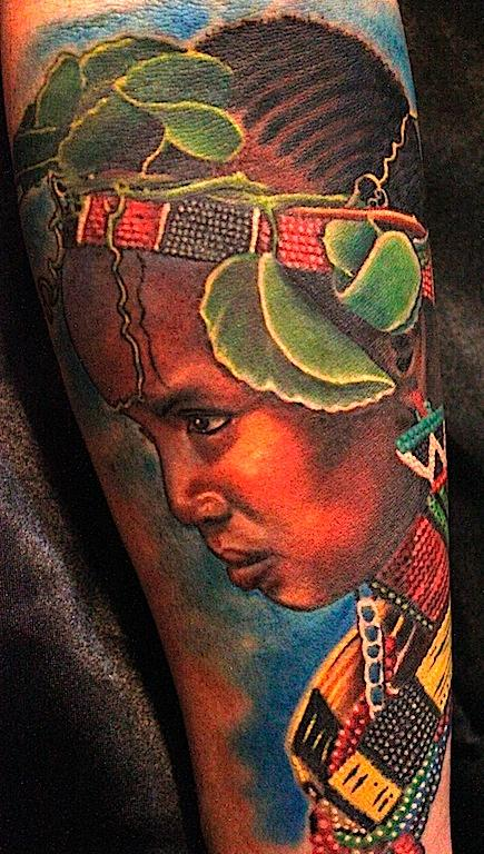 African girl Tattoo Design Thumbnail