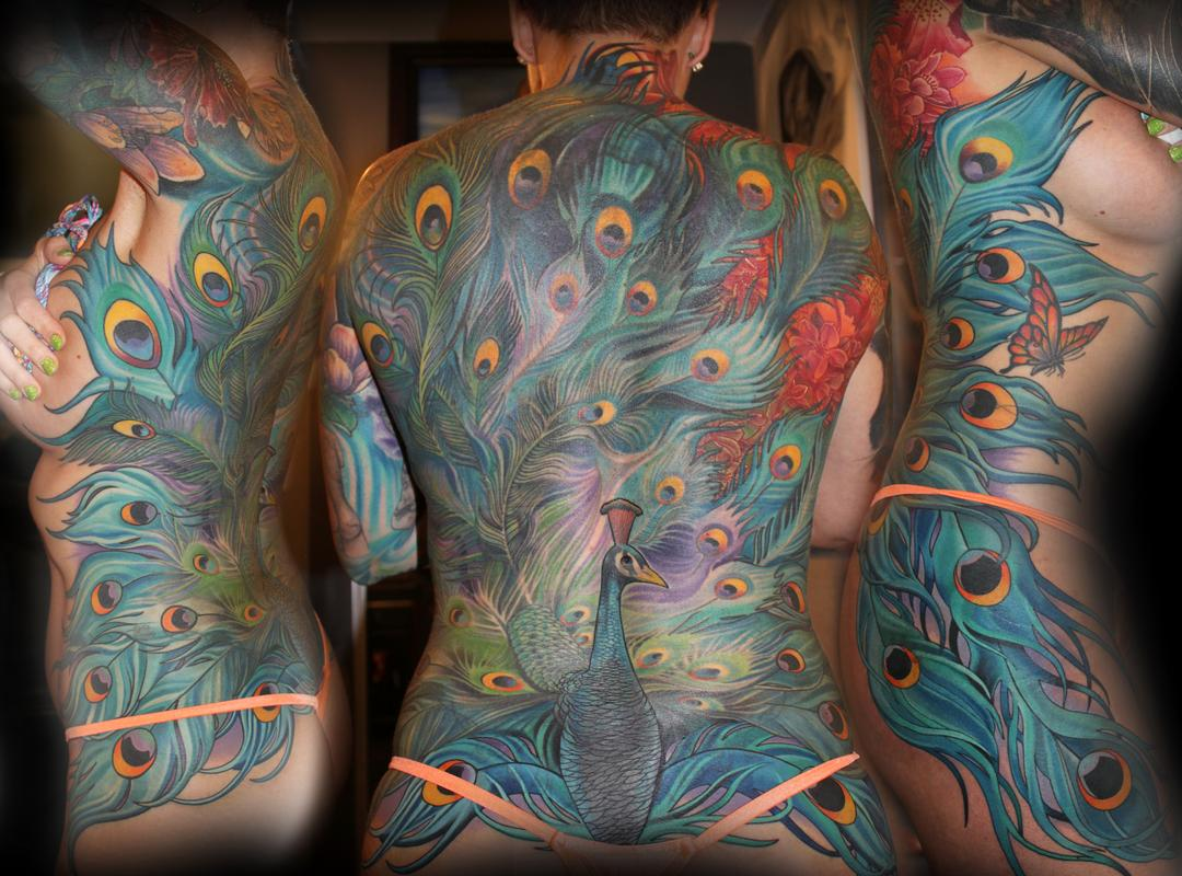 Peacock back piece by tony adamson tattoonow for Peacock tattoo on back