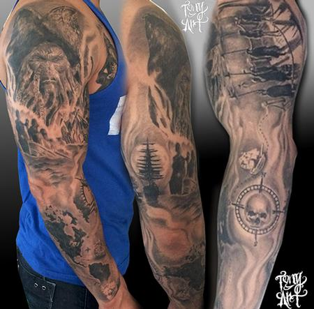 Tony Tapia - Pirates of the caribbean tattoo ,davy jones, pirates ,blackandgrey tattoos.realistic,pirate tattoos,