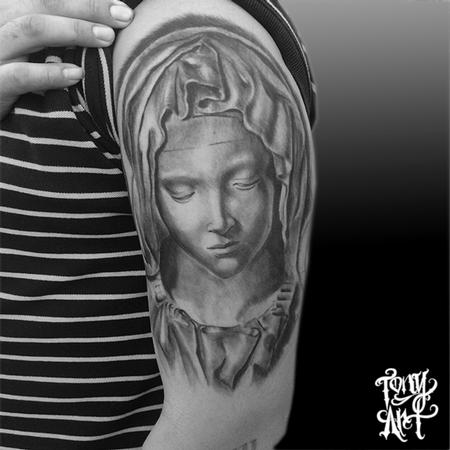 Tattoos - LA PIETA ,IN PROGRESS,BLACK AND GREY TATTOOS,MICHELANGELO  - 100200